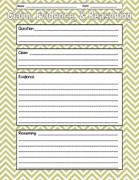 Claims, Evidence, Reasoning Quick Organizer