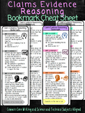Claims Evidence Reasoning Science Bookmarks Cheat Sheet