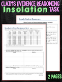 Claims Evidence  Reasoning Task Insolation Seasons Quiz Assessment