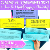 Claims vs. Statements Sort Activity for Middle School