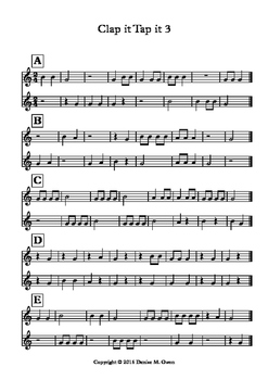 Clap it Tap it 3 (Quarter, eighth, half notes and quarter and half rests in 2/4)
