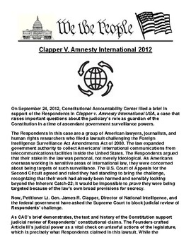 Clapper V. Amnesty International 2012 Article & Assignment
