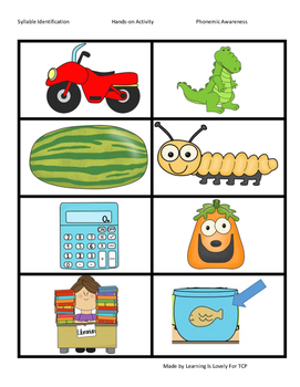 Clapping Syllables: A Hands-on Activity With Cute Pictures & A worksheet
