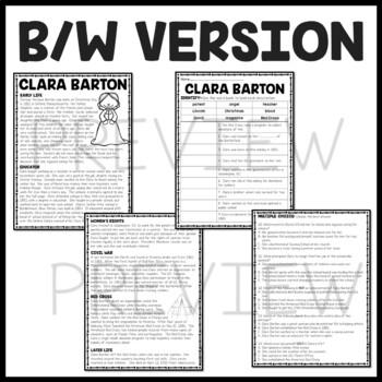 Clara Barton Biography Reading Comprehension Worksheet, Civil War, Red Cross