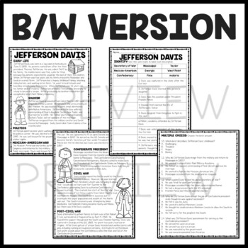 Jefferson Davis Biography Reading Comprehension Worksheet, Civil War