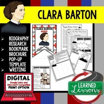 Clara Barton Biography Research, Bookmark Brochure, Pop-Up, Writing