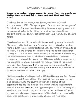 Clara Barton Biography and Find the Evidence Worksheet