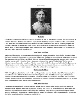 Clara Barton Biography and Questions