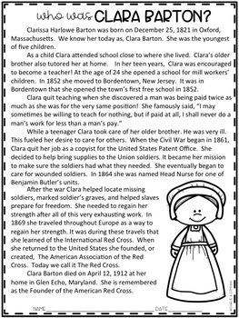 Clara Barton Comprehension Passage FREE