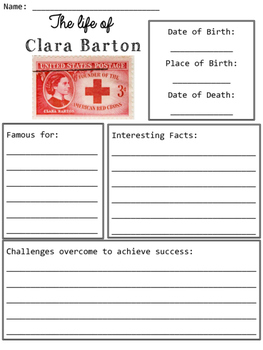 Clara Barton Graphic Organizers