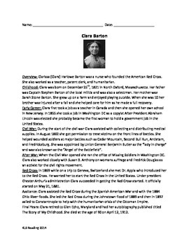 Clara Barton - Informational Article Review Questions Time