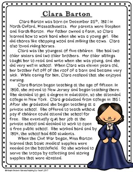 Clara Barton Biography and Timeline Activity