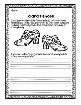 Clara Barton Writing Prompt