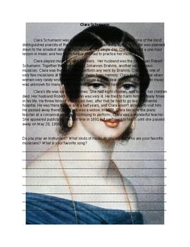 Clara Schumann Worksheet