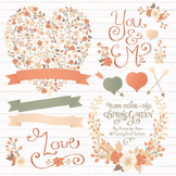 Spring Garden Floral Heart Clipart in Antique Peach - Flower Vectors, Clip Art