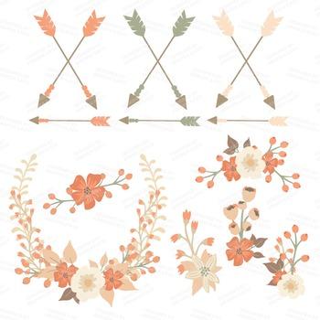 Spring Garden Floral Heart Clipart in Antique Peach - Flower Vectors, Clip Art