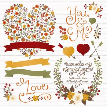 Spring Garden Floral Heart Clipart in Autumn Colors - Flower Vectors, Clip Art