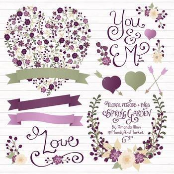 Spring Garden Floral Heart Clipart in Deep Plum - Flower Vectors, Clip Art