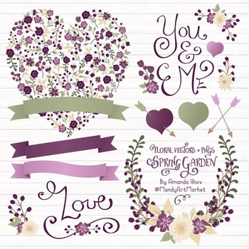 Spring Garden Floral Heart Clipart in Deep Plum - Flower Vectors, Clip Art