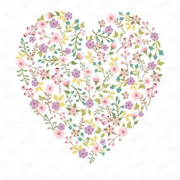 Spring Garden Floral Heart Clipart in Garden Party - Flower Vectors, Clip Art