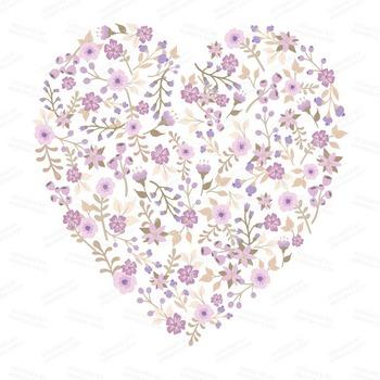 Spring Garden Floral Heart Clipart in Lavender - Flower Vectors, Floral Clip Art