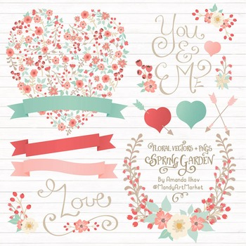 Spring Garden Floral Heart Clipart in Mint and Coral - Flower Vectors, Clip Art