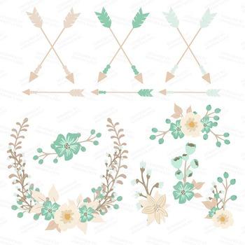 Floral Heart Clipart in Mint Green - Flower Vectors, Clip Art
