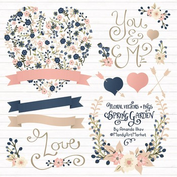 Spring Garden Floral Heart Clipart in Navy and Blush - Flower Vectors, Clip Art