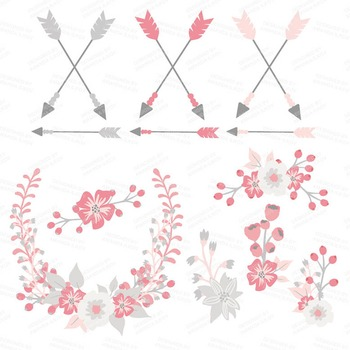 Spring Garden Floral Heart Clipart in Pink and Grey - Flower Vectors, Clip Art