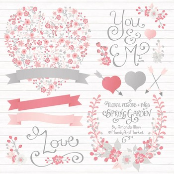 Spring Garden Floral Heart Clipart in Pink and Grey - Flow