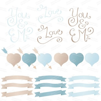 Spring Garden Floral Heart Clipart in Soft Blue - Flower Vectors, Clip Art