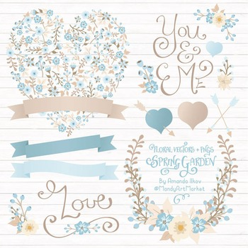 Spring Garden Floral Heart Clipart in Soft Blue - Flower V