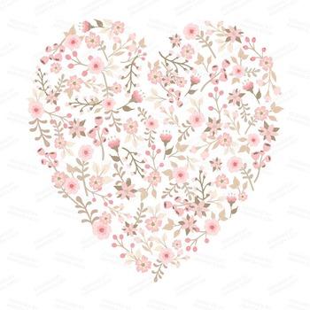 Spring Garden Floral Heart Clipart In Soft Pink Flower Vectors