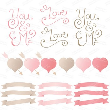 Spring Garden Floral Heart Clipart in Soft Pink - Flower Vectors, Clip Art
