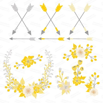 Spring Garden Floral Heart Clipart in Sunshine Yellow - Flower Vectors, Clip Art