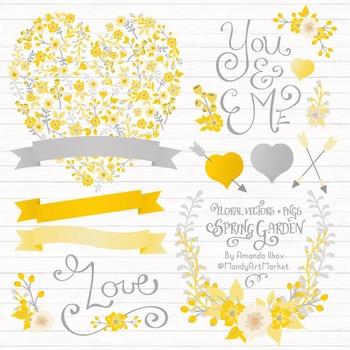 Spring Garden Floral Heart Clipart in Sunshine Yellow - Fl