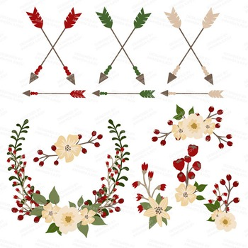 Spring Garden Floral Heart Clipart in Traditional Christmas - Flower Vectors