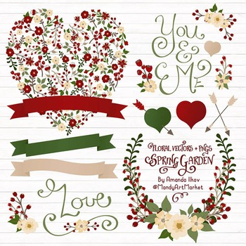 Spring Garden Floral Heart Clipart in Traditional Christma