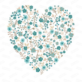 Spring Garden Floral Heart Clipart in Vintage Blue - Flower Vectors, Clip Art