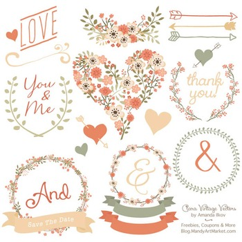 Clara Vintage Floral Wedding Heart Clipart in Antique Peach