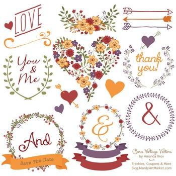 Clara Vintage Floral Wedding Heart Clipart in Autumn