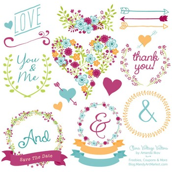 Clara Vintage Floral Wedding Heart Clipart in Bohemian