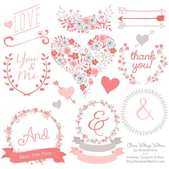 Clara Vintage Floral Wedding Heart Clipart in Coral