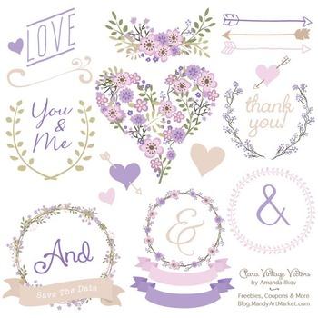 Clara Vintage Floral Wedding Heart Clipart in Lavender