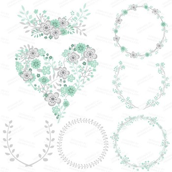 Clara Vintage Floral Wedding Heart Clipart in Mint & Coral