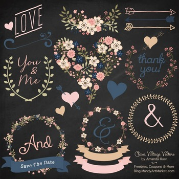 Clara Vintage Floral Wedding Heart Clipart in Navy & Blush
