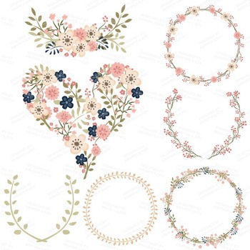 Clara Vintage Floral Wedding Heart Clipart in Navy & Blush