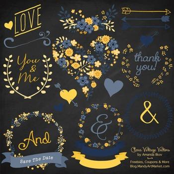 Clara Vintage Floral Wedding Heart Clipart in Navy & Lemon