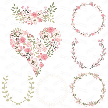 Clara Vintage Floral Wedding Heart Clipart in Soft Pink