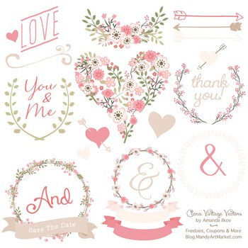 Clara Vintage Floral Wedding Heart Clipart in Soft Pink